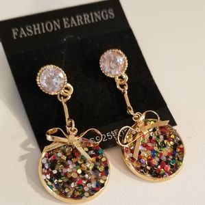 Jewelry - Multicolored Bow Sparkle Earrings